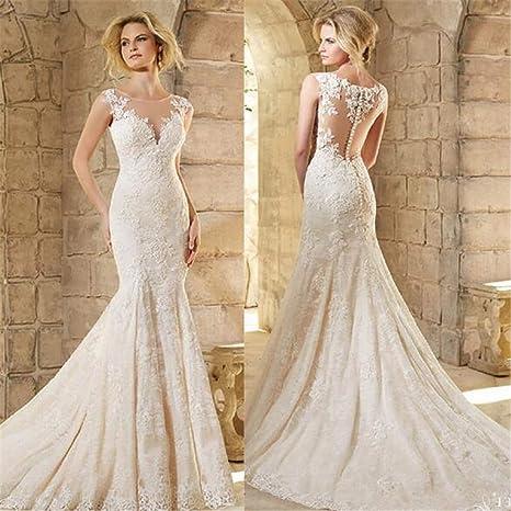 Vestido de Novia, Novia Elegante Sirena sin Mangas Larga de ...