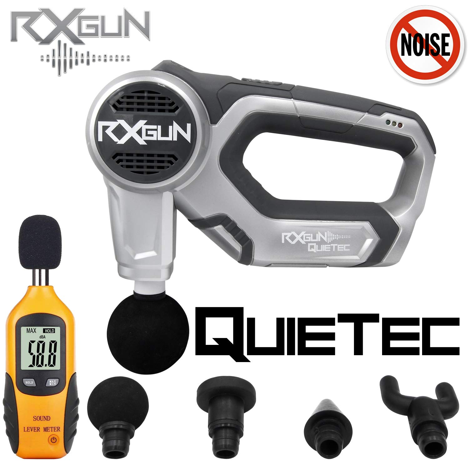 RxGun QUIETec Vibration Percussion Massager Cordless Rechargeable Handheld Percussive Muscle Stimulation Device Deep Tissue Muscles, Recovery Pain Relief Professional Quiet Whisper Massage Gun