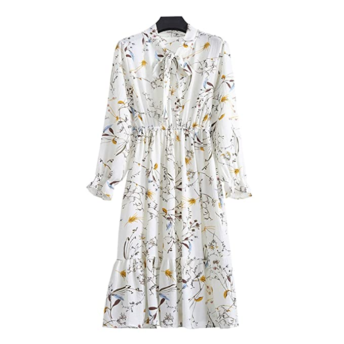 7077bf4668665 Unique-Shop Spring Summer Chiffon Print Dress Casual Cute Women ...