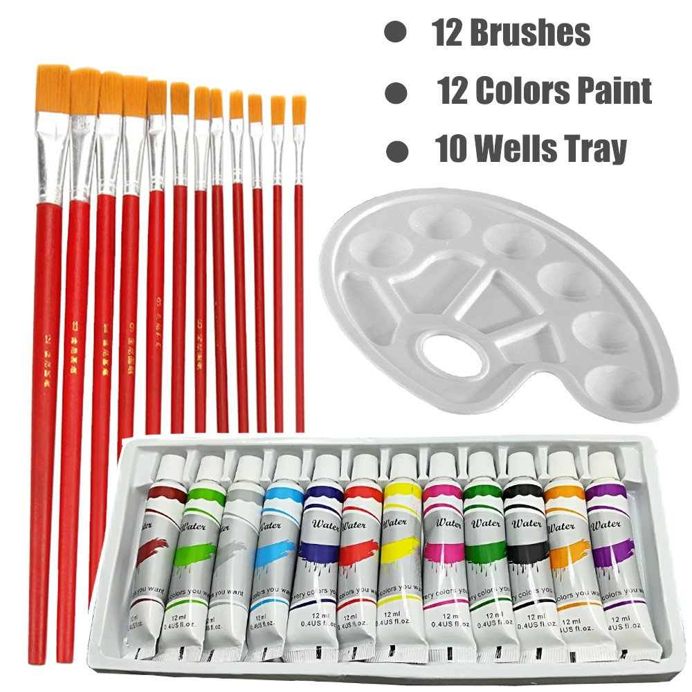 Art Paint Set, Watercolor Paint Set 12 Colours Watercolor Artist Set with 12 Pcs Paint Brushes, Paint Tray Palette for Beginners, Students & Professional Artist by Coozero