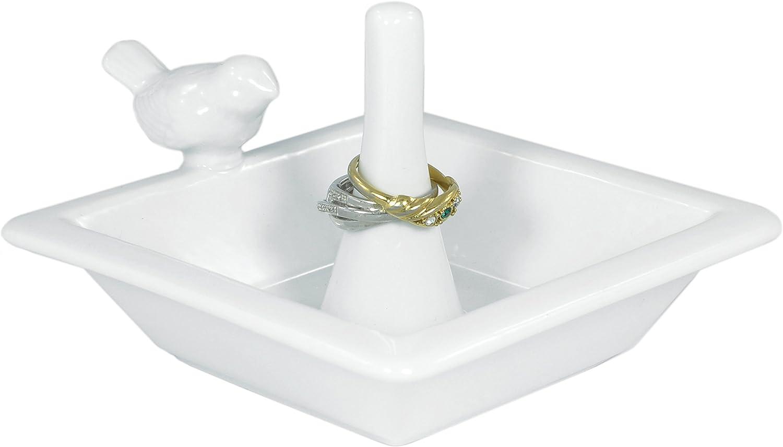 MyGift Classic White Bird Bath Ceramic Ring Holder Jewelry Dish Tray
