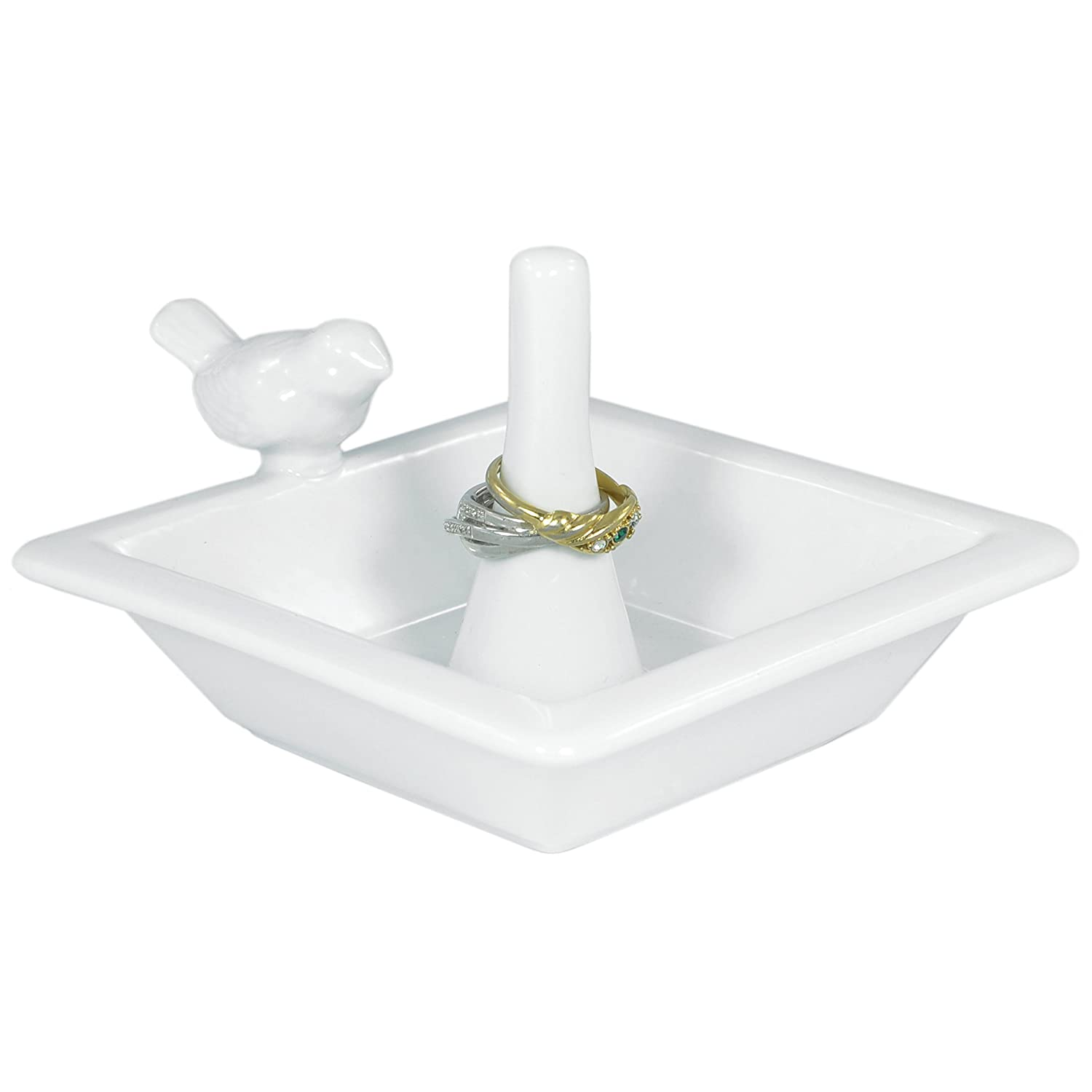 Classic White Bird Bath Ceramic Ring Holder / Jewelry Dish Tray - MyGift® AX-AY-ABHI-75650