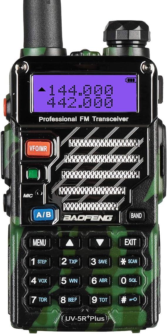 Baofeng Plus 2m/70cm walkie Talkie portatil Radio Aficionado, Doble Banda VHF/UHF y 128 Canales de Memoria (Camuflaje): Amazon.es: Electrónica