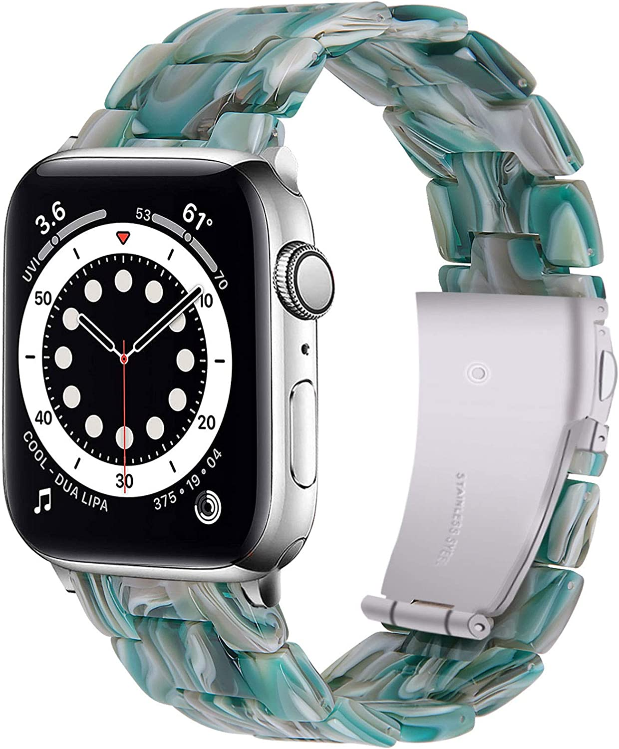 Miimall Compatible Apple Watch 42mm 44mm Resin Band Women Men Bracelet Stainless Steel Buckle Band Strap for Apple Watch SE Series 6 Series 5 Series 4 Series 3 Series 2 42mm 44mm(Facebook Green)