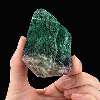 WensLTD Gift Natural Irregular Crystal Quartz Healing Fluorite Wand Stone Purple Green Gem (B)