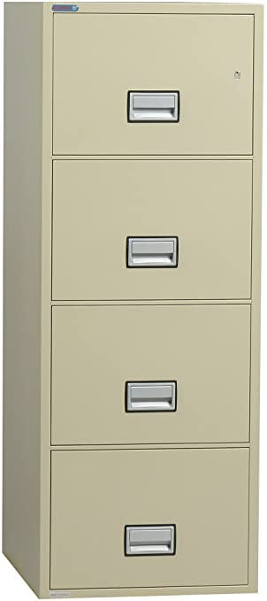 Phoenix Vertical 25 inch 4-Drawer Legal Fireproof File Cabinet - Putty