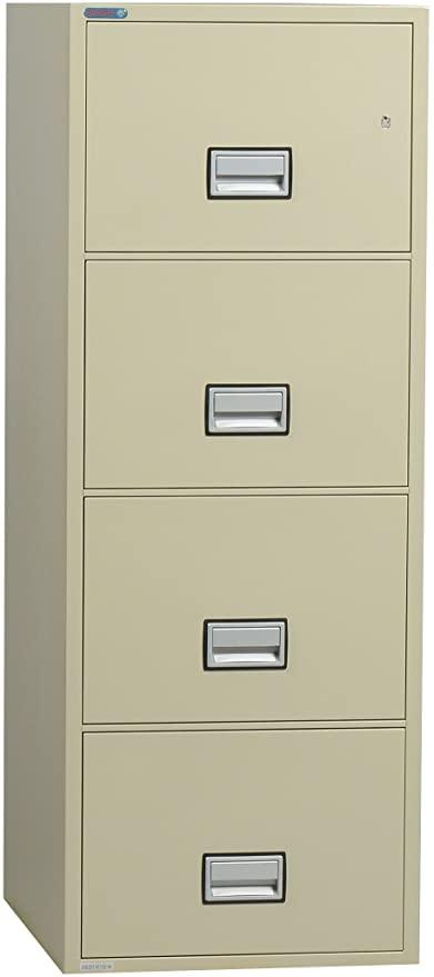 Phoenix Vertical 25 Inch 4 Drawer Legal Fireproof File Cabinet   Putty