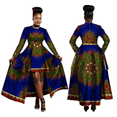 0d3ecf645be3 Amazon.com: African Clothing for Women Dashiki Cotton Wax Print Batik Long  Dress for Female: Clothing