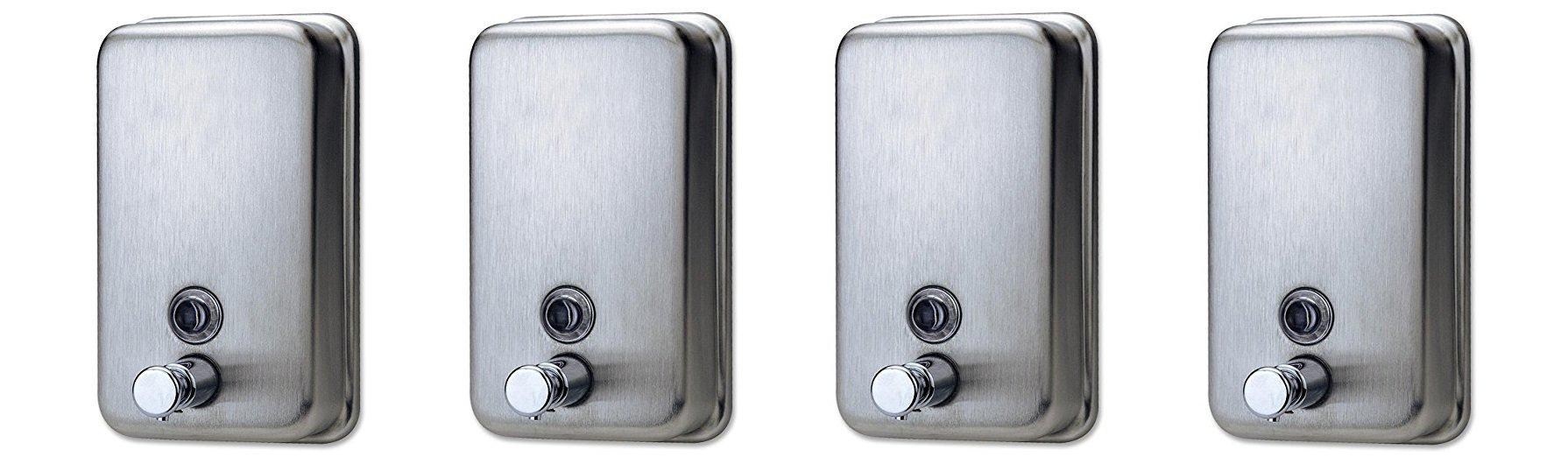 Genuine Joe GJO02201 Stainless Steel Manual Soap Dispenser, 31.5 fl oz Capacity (Pack of 4)