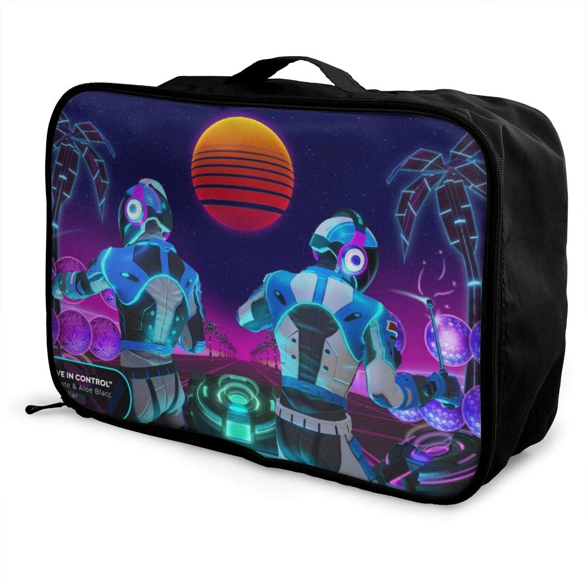 BOKAIKAI1306 Handsome Daft Punk Combination Unisex Adults Fashion Lightweight Large Capacity Portable Large Travel Duffel Bag Mens Woman Luggage Bag 3D Printing DIY Boarding Box