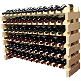 Stackable Modular Wine Rack Storage Stand Wooden Wine Holder Display Shelves, Thicker Wood (Natural, 12 X 6 Rows (72 Slots))