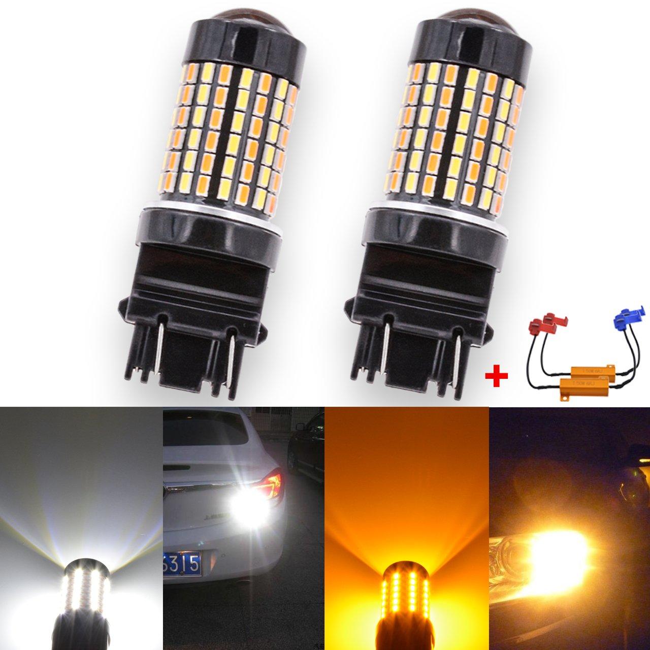 KaTur Cool White 6500K 800LM 7528 1157 BAY15D 1016 1034 Amber/White Switchback Amber-Off-Amber-Off Turn Signal LED Bulbs 3014-120SMD Lens Brake LED Light Lamp (Pack of 2) 2AM-CL-1249-1157