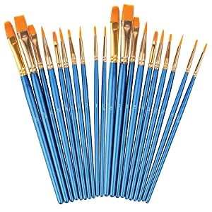 Acrylic Paint Brushes Set, 2 Pack / 20 PCS Round Pointed Tip Artist Paintbrushes Nylon Hair Brushes for Oil Watercolor Painting, Face Body Model Paint, Nail Art, Miniature Detailing & Rock Painting