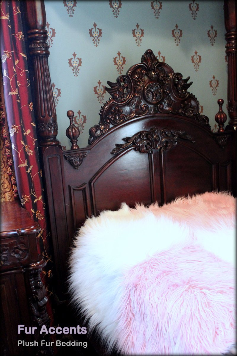 Fur Accents Faux Fur Twin Size Bedspread / Throw Blanket / Luxury Mongolian Long Hair Faux Fur / Cotton Candy Pink and White Large Patchwork Quilt Squares / 96'' X 120'' King Size