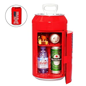 Guay Outdoor Portable Mini Fridge US Can Beverage Cooler – 8 Cans / 5 Liters - AC/DC Indoor and Outdoor Vehicle Thermoelectric Can-Shaped Refrigerator - Red
