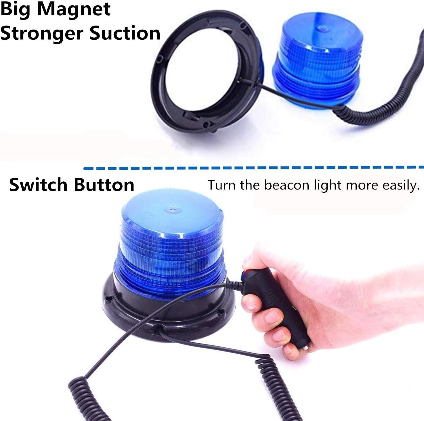 blau f/ür 12V und 24V,Blinkleuchte f/ür Warnleuchten Warnlicht Magnet Rundumleuchte Magnetmontage Zigarettenanz/ünder