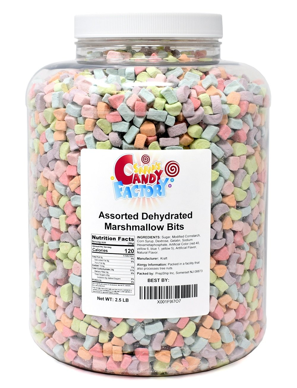 Sarah's Candy Factory Assorted Dehydrated Marshmallow Bits in Jar, 2.5lb