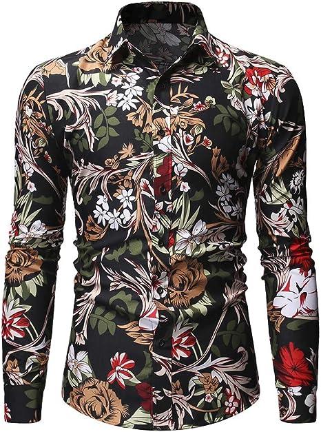 WL para Hombre Floral del botón de Camisa Informal de Down de Manga Larga Impresa Flor Camisa de algodón y Otoño Invierno Ideal para Viajar y Caminar: Amazon.es: Deportes y aire libre