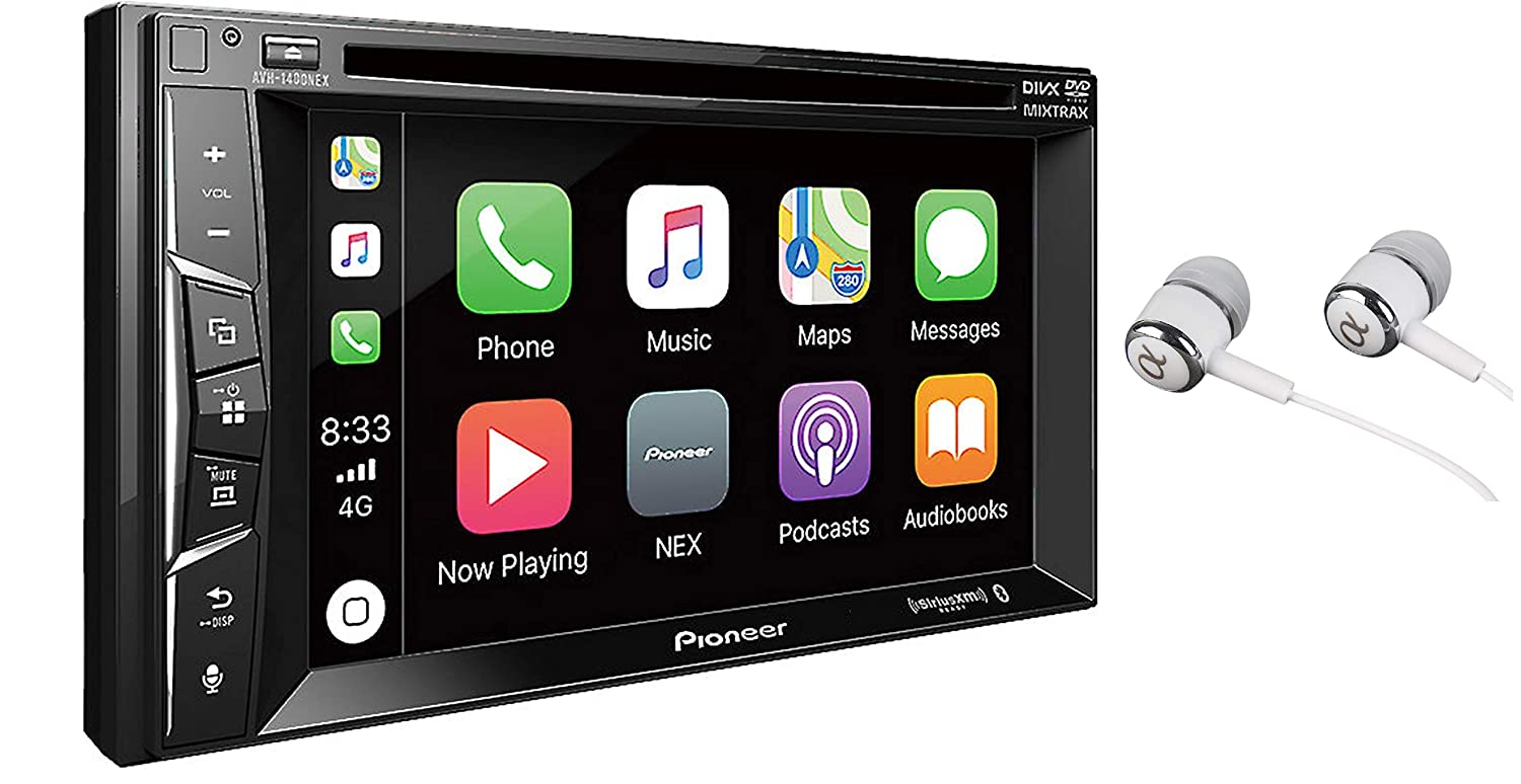 """Pioneer Multimedia Double-Din In-Dash 6.2"""" WVGA Display DVD Receiver Apple CarPlay/Built-in Bluetooth/SiriusXM-Ready/AppRadio Mode/ Spotify & Pandora WITH FREE ALPHASONIK EARBUDS"""