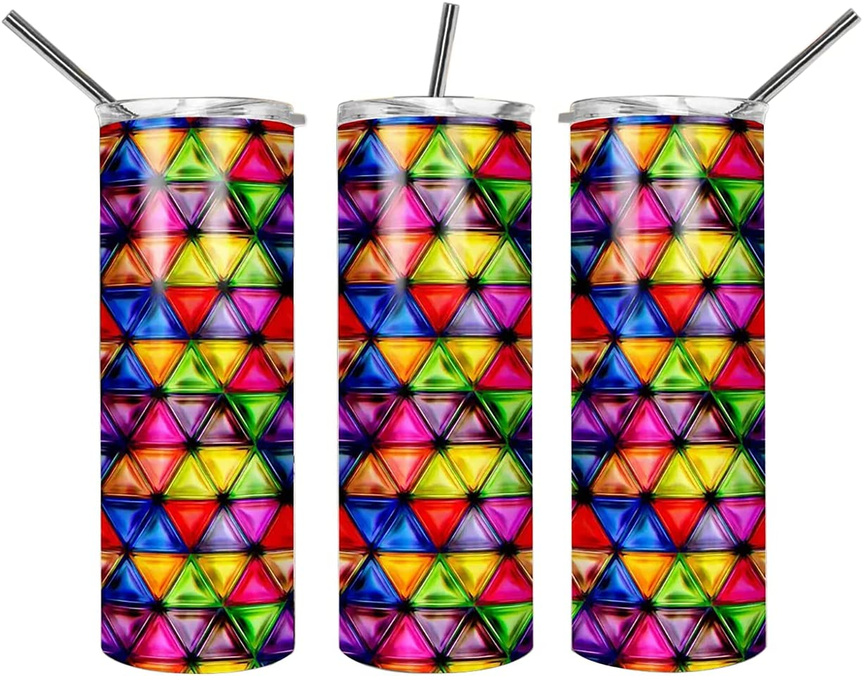 Stained Glass Meaning of Colors Magical 20 Oz 30 Oz Skinny Tumblers with Lid Straw Gift for Father's Day, Travel Mug Vacuum Insulated Stainless Steel, Ice Drink, Hot Beverage