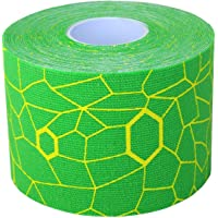 TheraBand Kinesiology Tape for Pain Relief and Joint and Muscle Support, Standard roll with XactStretch print to Eliminate Misapplication, 2 Inch x 16.4 Foot Roll, Electric Green/Yellow