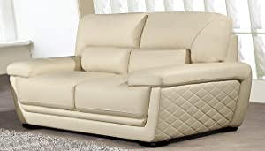 "American Eagle Furniture Emma Modern Italian Leather Living Room Loveseat, 71"", cream"