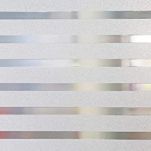 Housolution 2D Privacy Window Films, No-Glue Static Privacy PVC Window Films Non-Adhesive Frosted Glass Sticker Heat Control Anti UV Protective Cover for Home Decor, Stripe (78.7 x 17.7 in)
