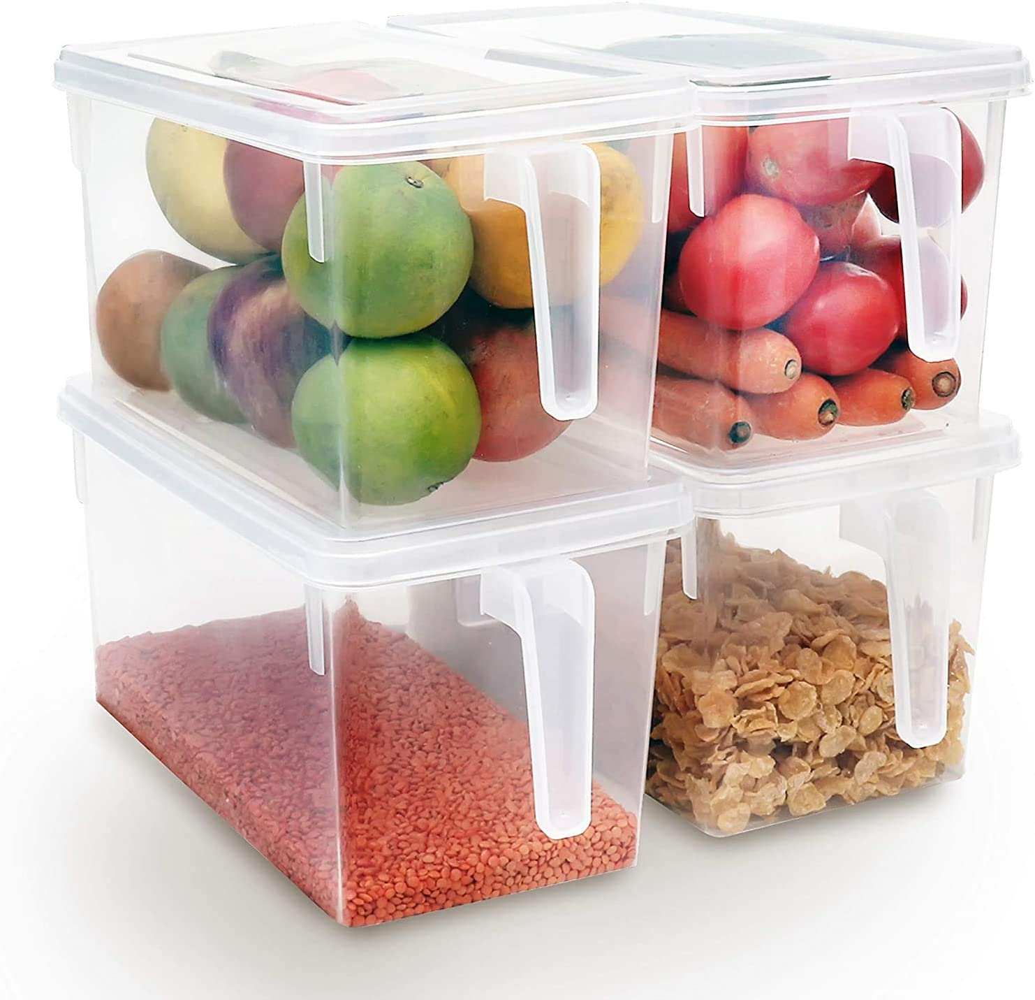 Kitchen Transparent PP Storage Box Grains Beans Storage Contain Sealed Home Organizer Food Container Refrigerator Storage Boxes (3 Pack)