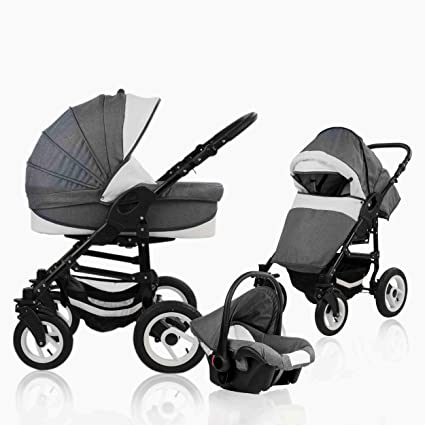 bebebi Florenz | goma dura Neumáticos en blanco | Carrito 3 en 1 gris Marco Darkgrey
