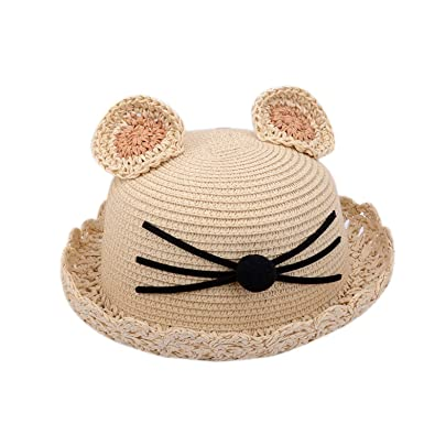 2d793fcc Image Unavailable. Image not available for. Color: Straw Hats Kids Summer  Ear Decoration Cat Beach Cap ...
