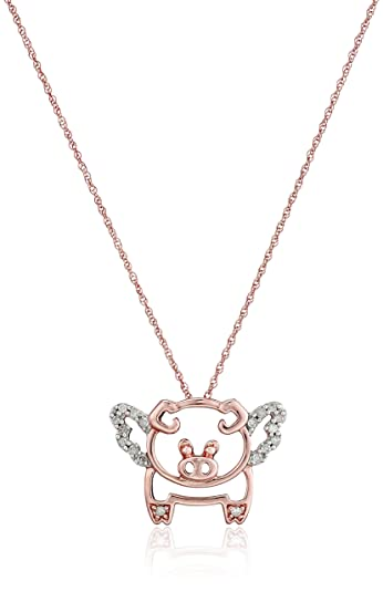 Amazon 10k rose gold diamond flying pig pendant necklace 1 10k rose gold diamond flying pig pendant necklace 110 cttw i j color mozeypictures Gallery