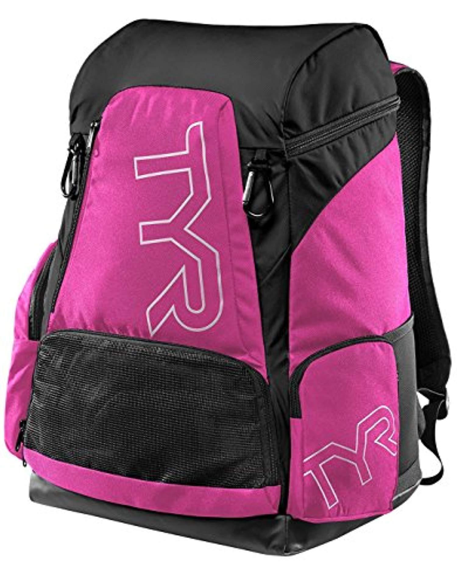 Swim Bundle: TYR Alliance 45L Backpack Pink/Black All & Swimming Earplugs by Competition Swimwear