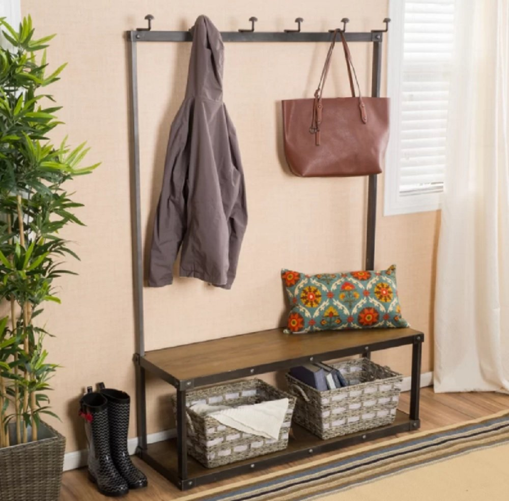 Shanna Industrial-Inspired Design Brown Wood Bench Hall Tree with Black Metal Frame - Storage for shoes and 6 Hooks for coats or bags Sturdy and supports heavy coat and bags Weight capacity of bench: 250 lbs - hall-trees, entryway-furniture-decor, entryway-laundry-room - 719HkWS9b7L -