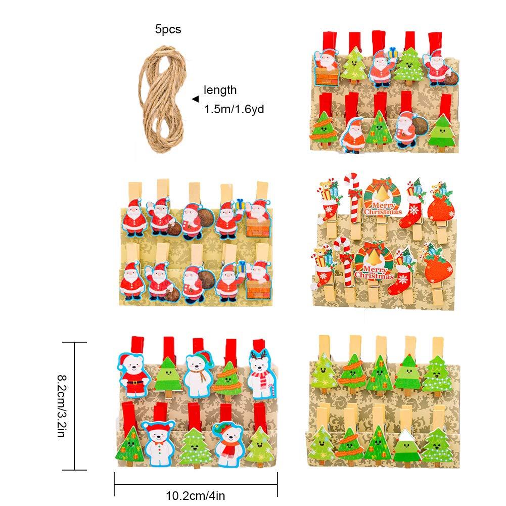 Pveath Clip di Foto di Natale in Legno 50 Pezzi Clip di Legno di Natale con 5 Rotoli di Corde Albero di Natale Clip di Foto Mollette da bucato di Legno Carta Fotografica per Le Foto Decorazione