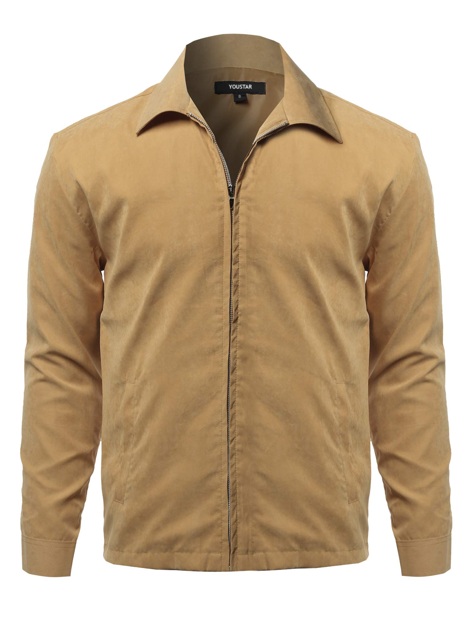 Solid Classic Golf Long Sleeves Zipper Closure Thin Layer Jacket Beige XXL by Youstar