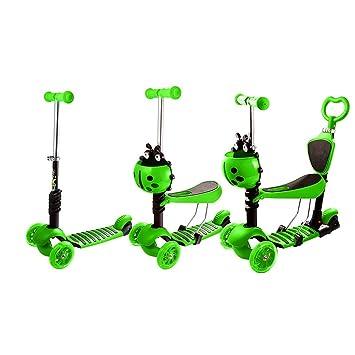 Buysyall ®3 EN 1 Mini Scooter Patinetes Ajustable con 3 Ruedas Luz LED Cesta Asiento Desmontable, Monopatín Infantil Cochecitos Andadores Carrito para ...