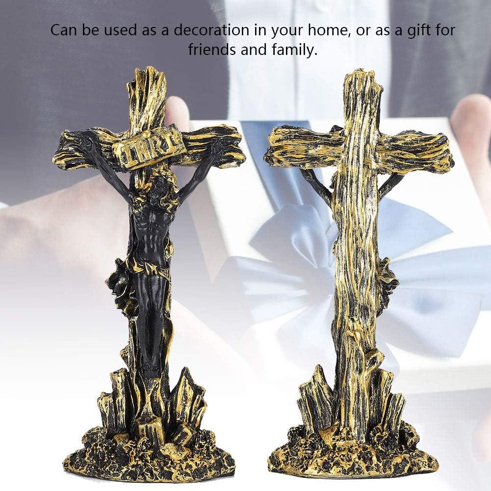 Jes/ús clavado en el crucifijo Decoraci/ón Europea Cristiana Recuerdos de Regalo Artesan/ía Cruz de Resina Crucifijo de Pared Negro Estatua de Resina de la Cruz de Jes/ús