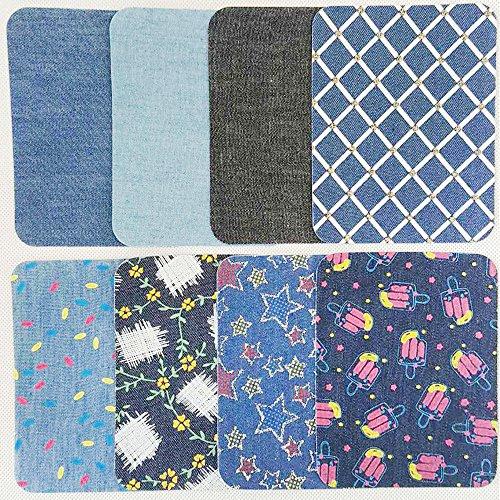 Jeans Denim Patterns - ASPEN BURG Iron On Denim Patches for Clothing Jeans 16 Piece(4.9