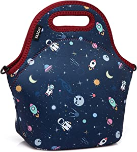 VASCHY Lunch Box Bag for Kids, Neoprene Insulated Lunch Tote with Detachable Adjustable Shoulder Strap in Cute Astronaut