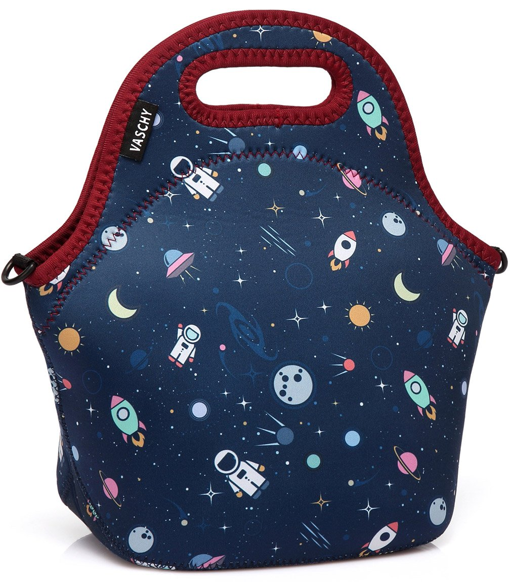 dcd59fcd03d4 VASCHY Lunch Box Bag for Kids, Neoprene Insulated Lunch Tote with  Detachable Adjustable Shoulder Strap in Cute Astronaut