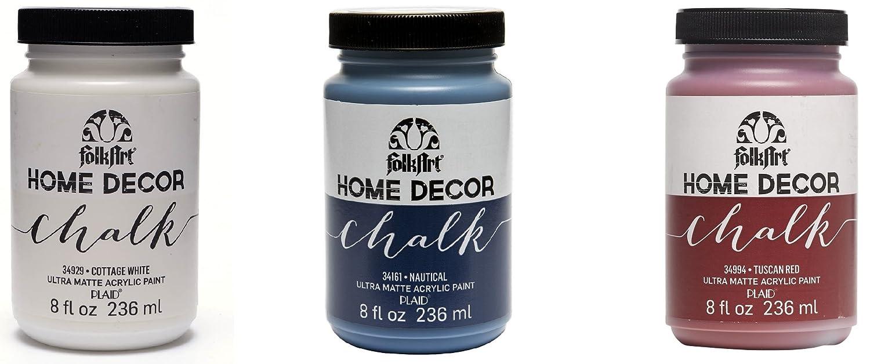 Plaid Folkart Home Decor Chalk ultra-matte Paint set 3, materiale sintetico,, 18x 6x 10.7cm Plaid Enterprises 102089718000