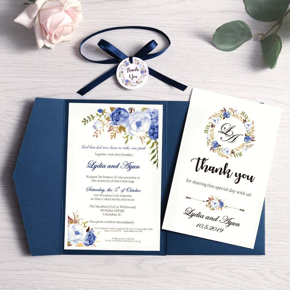 Doris Home 50 pcs 4.7 x7.1inch Tri-fold wedding invitations for Bridal Shower, Dinner, Beach theme, Party with Ribbon and Tags, (Blue, 50pcs Blank)