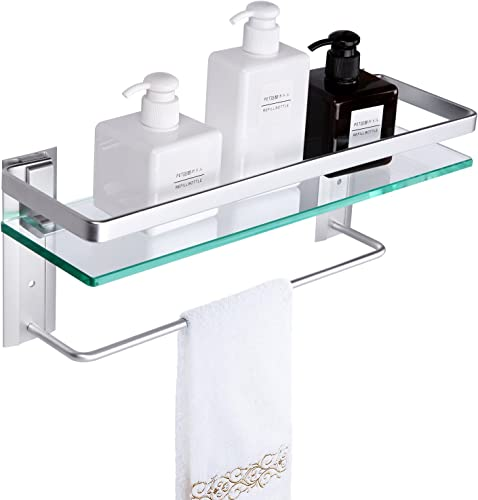 Vdomus Tempered Glass Bathroom Shelf with Towel Bar Wall Mounted Shower storage15.2 by 4.5 inches, Brushed Silver Finish Silver