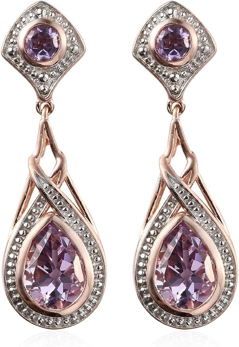 Amazon Com Rose De Amethyst 18k Rose Gold Plated Bridal Tear Dangle Drop Earrings Fashion Jewelry Ct 3 3 Jewelry