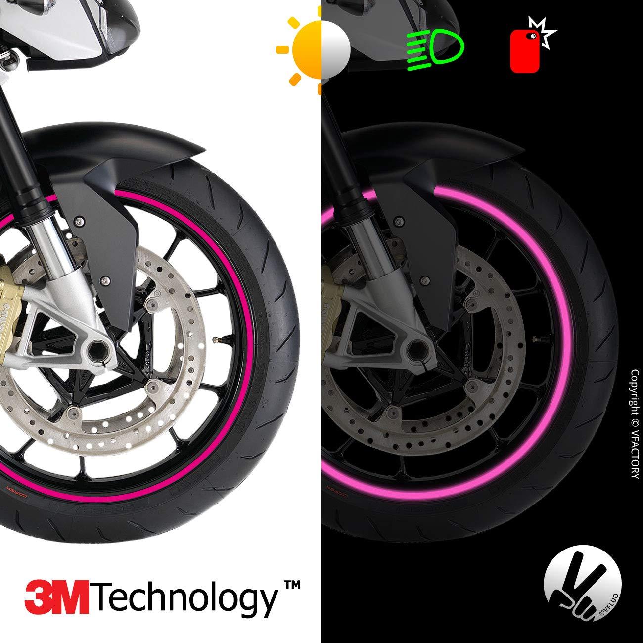 motorcycle retro reflective wheel stripes kit VFLUO CIRCULAR/™ 1 wheel 7 mm width 3M Technology/™ Black