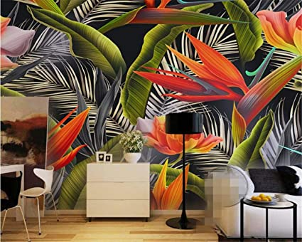 HYF Wallpaper Hand Painted Tropical Rainforest Canna Retro
