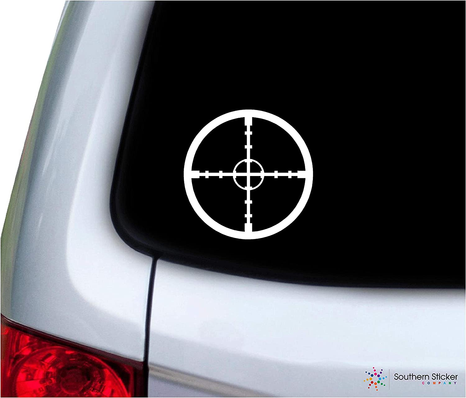 Southern Sticker Company Cross Hairs Gun Scope Target 3.9x3.9 inches Size Rifle Hunting Decal Vinyl Laptop car Window Truck - Made and Shipped in USA (White)
