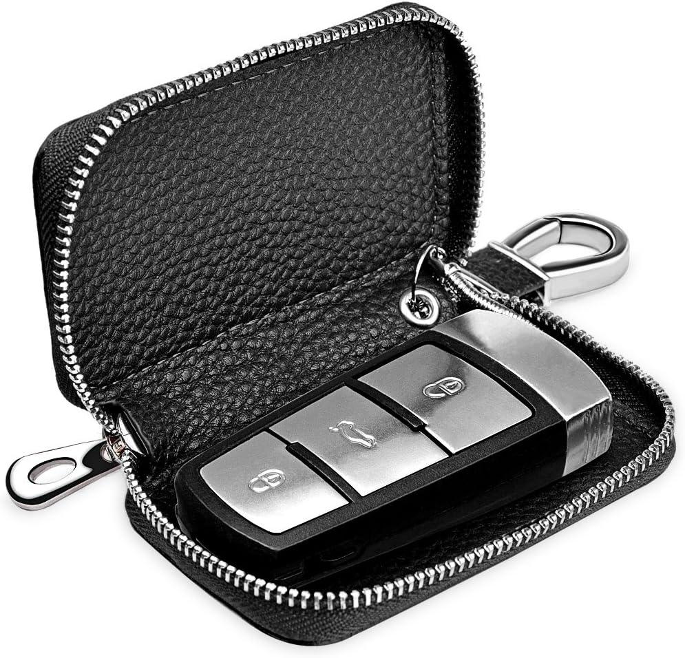 Men Women PU Leather Car Key Chain Ring Cases Holder Bag Wallet Purse Black SL