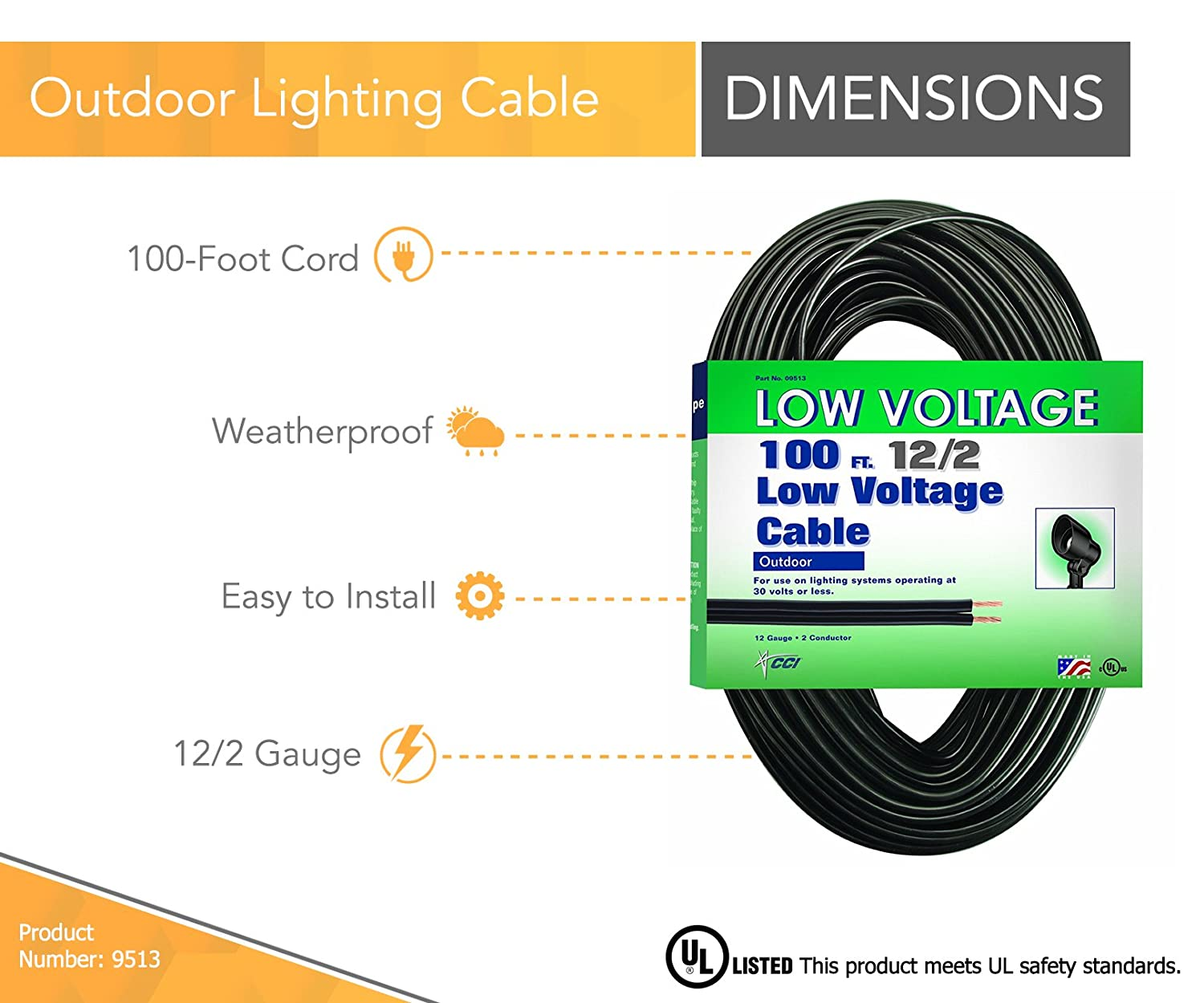 Coleman Cable Low Voltage Outdoor Lighting Cable (100 Ft, 12/2 gauge ...