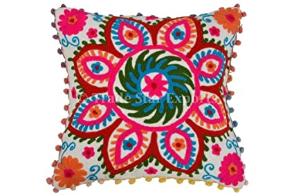 Pom Pom Pillow Cover, Suzani Pillows 16x16, Outdoor Cushions Cover,  Bohemian Pillow Cases